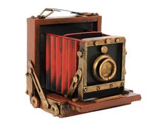 Cámara de fotos decorativa en metal - rojo y negro