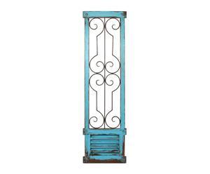 Ventana decorativa en metal y madera - azul