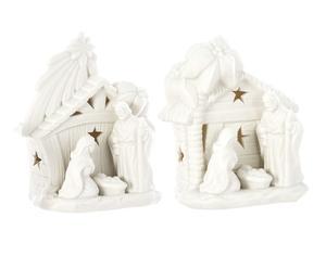 Set de 2 belenes de porcelana
