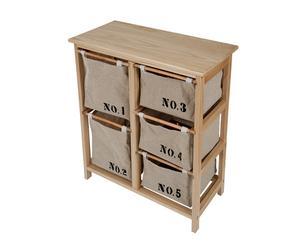 Mueble auxiliar con 5 cajones Números - madera