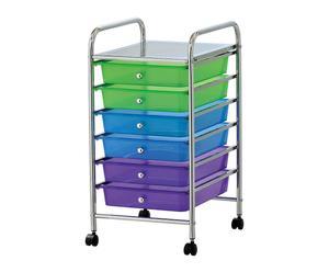 Carrito multiusos con 6 cajones Rainmaker - multicolor