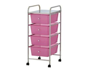 Carrito multiusos con 4 cajones Rainmaker - rosa