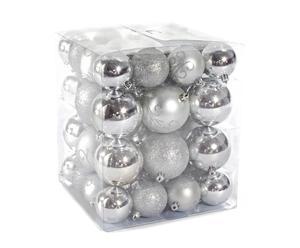 Caja de Navidad con 50 bolas - plata