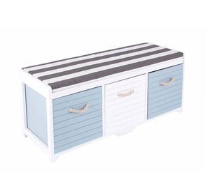 Banco en madera de paulownia, cajones en madera y cojín – blanco y azules