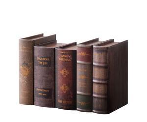 Set de 5 cajas libros de Madera