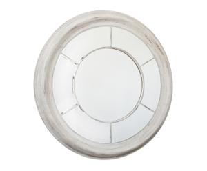 Espejo redondo en polirresina – blanco en pátina