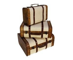 Set de 3 maletas en madera con tachuelas – beige y marrón