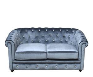 Sofá de 2 plazas en terciopelo - azul