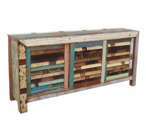 Aparador con puertas correderas de madera de teca reciclada – multicolor