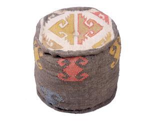 Puf redondo con tejido tipo kilim