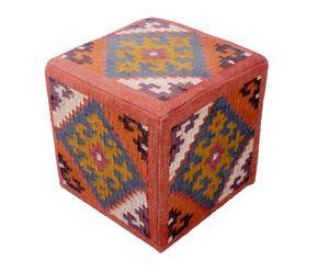 Puf-mesa de madera tapizado en kilim de yute y lana