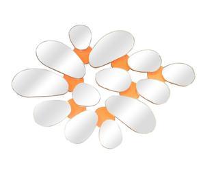 Espejo múltiple de madera Pétalos – naranja