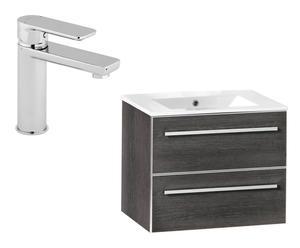 Mueble de baño con 2 cajones, lavabo y grifo – ceniza