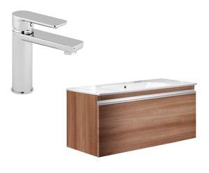 Mueble de baño con lavabo y grifo Love – teca y blanco