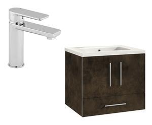 Mueble de baño con lavabo y grifo TORINO – bronce brillo
