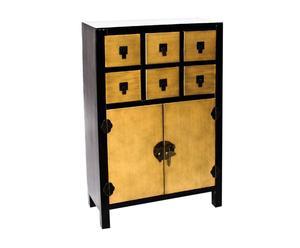 Mueble japonés de madera – negro y dorado
