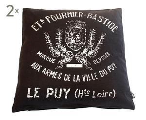 Set de 2 cojines estampados en francés – Negro