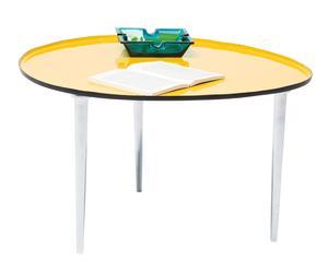 Mesa de café ovalada – amarillo y blanco