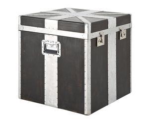 Baúl cuadrado de chapa de madera y aluminio – Negro y blanco