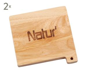 Set de 2 bajo platos en madera – natural