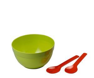 Ensaladera con cubiertos en melamina – verde