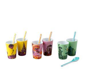 Set de 6 vasos de café en porcelana – multicolor