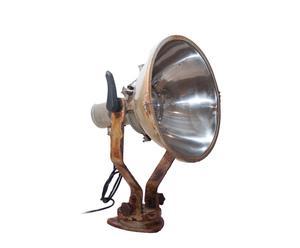 Lámpara de sobremesa industrial de hierro y vidrio – cobre