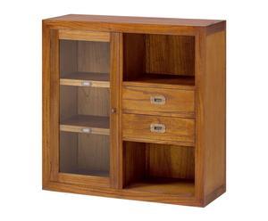 Mueble de mindi con vitrina y estantería Combi