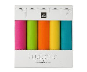 Caja regalo con 5 rollos de 10 servilletas Flúor Chic – 20x20