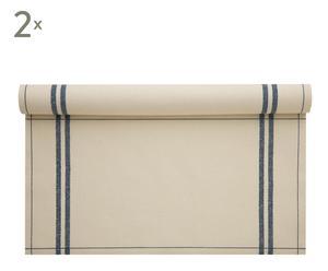 Rollo de 12 servilletas vintage collection, natural y raya azul – 20x40