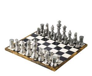 Juego de ajedrez de cuero y aluminio - Negro, blanco y plata