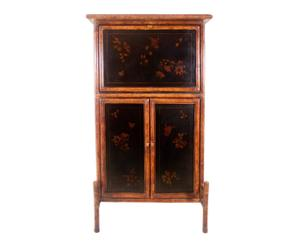 Mueble escritorio de madera y piel - negro