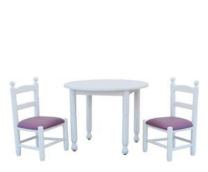 Set infantil de 2 sillas y 1 mesa de haya y polipiel – blanco, rojo y lila