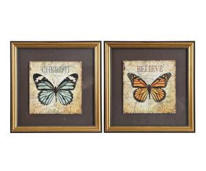 Set de 2 láminas enmarcadas en madera DM y lienzo – mariposa