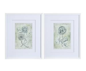 Set de 2 láminas enmarcadas en madera DM y lienzo - flor