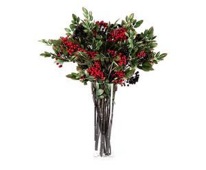 Jarrón en vidrio con 24 flores berries