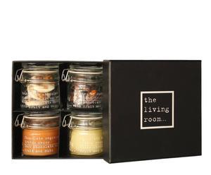 Caja regalo con 2 tarros de botones de chocolate con frutos secos y 2 velas aromáticas