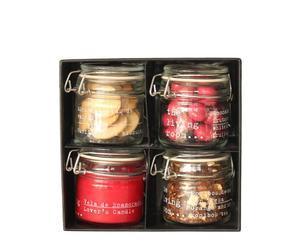 Caja regalo con Choco-Stones, galletas de vainilla, Rooibos de naranja y fresa y vela aromática