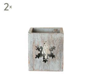SET de 2 portavelas de madera, cuadrado – gris decapado