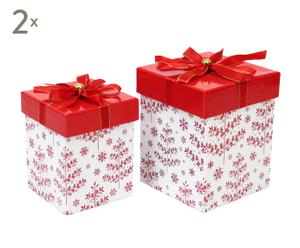 Set de 2 cajas de cartón con lazo rojo