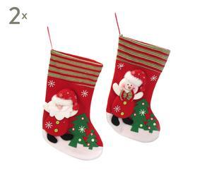 Set de 4 calcetines de tela Navidad – rojo