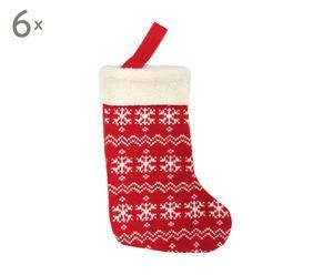Set de 6 calcetines de punto Navidad – rojo