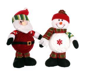 Figura decorativa de tela Papa Noel y Muñeco de Nieve I