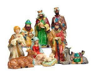 Nacimiento de porcelana con 9 figuras