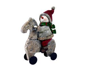 Figura decorativa de poliresina de muñeco de nieve con caballo