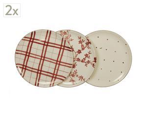Set de 6 platos de cerámica – Beige y rojo