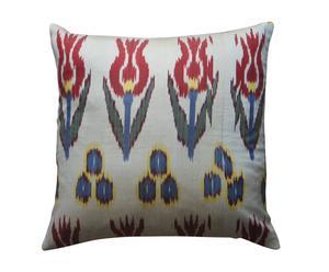 Cojín cuadrado de seda, tulipanes azules y rojos – 40x40