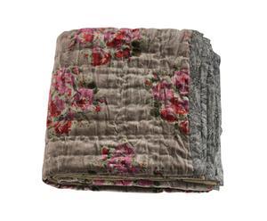Colcha acolchada de terciopelo Rosy Topo – 160x160