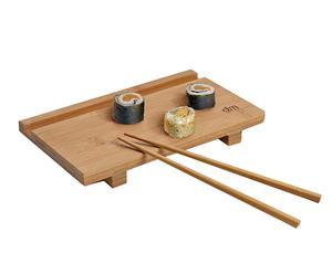 Bandeja y palillos para sushi