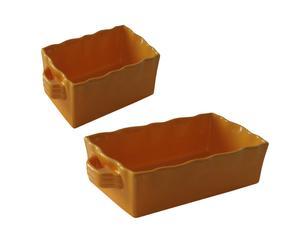 Set de 2 bandejas de cerámica grande - amarillo